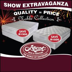 Furniture & Bed Promotions & Specials from Ascot bedding - Beds for Sale South Africa, Johannesburg branches Boksburg and Alberton both have a range of quality beds at affordable prices. Bed sale: king size, queen beds, double beds & beds for sale. Beds For Sale, New Beds, Good Sleep, Ascot, Bed Furniture, Bedding Shop, Mattress, Promotion