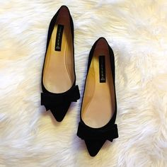 Steven by Steve Madden black suede bow flats So cute!  black suede bow flats by Steve Madden. EUC. No noted flaws, barely any wear on the soles. Steve Madden Shoes Flats & Loafers