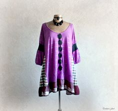 Purple Boho Shirt Upcycled Long Top Hippie by BrokenGhostClothing