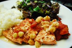 Sauteed Salmon with Tomatoes and Chickpeas - 7 Points +