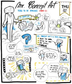 Mr Concept Art - How to be Amazing (part Business Model Canvas, Sketch Notes, Design Thinking, Bujo, Doodle, Concept Art, Infographic, Child, Illustrations