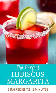 The BEST Hibiscus Margarita Recipe! Served on the rocks, this easy, homemade margarita is sweet & tart and made from fresh ingredients! Easy Fruity Cocktails, Spring Cocktails, Classic Cocktails, Summer Drinks, Best Margarita Recipe, Margarita Recipes, Homemade Margaritas, Best Cocktail Recipes, Sweet Tarts