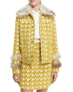 Fur-Trim Houndstooth Jacket  by Just Cavalli at Neiman Marcus.