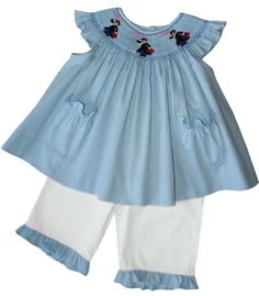 Mary Poppins Girls Dress with Ruffle Pants and Hand Smocking – Carousel Wear