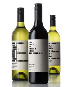 Wine label design for Morse Code Padthaway wine. You don't often see this bold contrast on wine bottles, and when you do, it's usually reversed. The color pays homage to the days when Morse code was used. It's also simple and asymmetric, which makes for easy reading.