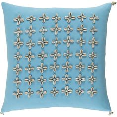 Surya Decorative Rotorua 20-inch Down or Poly Filled Throw Pillow (Polyester - Green), Size 20 x 20 (Cotton, Applique)