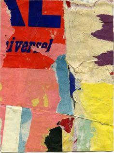Jacques Villeglé - Rue René Boulanger  January 1961  décollage mounted on canvas 8 5/8 x 6 1/2 inches JV 90  #decollage