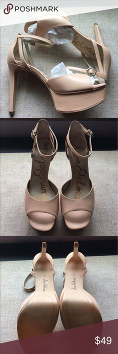 New Sam Edelman Kayde Platform Sandals 7.5M Sam Edelman Kayde Platform Sandals 7.5M in Nude Leather. Shoe description and specs in last pic. Beautiful shoes! The color is more of a nude/light Peach hue. Purchased for specific occasion and didn't match my outfit. Too late to return them. Super comfy too! Come in original box. 🚫Modeling 🚫Trades 🚫deals outside Posh. Smoke free, pet friendly home. Thanks for stopping by my closet! 😊 Sam Edelman Shoes Heels