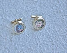 Batman Cuff links and the Joker Cufflinks recycled by Polyester10, $32.00