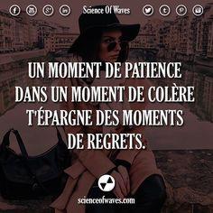 Un moment de patience dans un moment de colère t'épargne des moments de regrets. #motivation #citations #citation