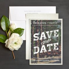 Retro Woodsy Save The Date Cards by Emily Crawford | Elli