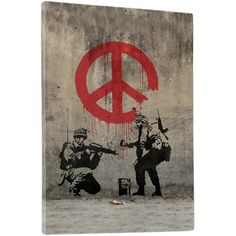Peace Sign Soldiers' by Banksy gallery wrap on archival quality canvas using Epson Ultra-Chrome inks and pine wood frames. Banksy's stenciled anti-war piece, Soldiers Painting Peace, became prominent