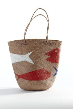 Nice casual summer bag for shopping or picnics, love the fish illustration reminds me of summer beach vacation xxxxo - black and brown leather bag, shoulder bags online shopping, red bag *ad Tote Bags, My Bags, Purses And Bags, Diy Basket, Basket Bag, Objet Deco Design, Summer Bags, Straw Bag, Fashion Accessories