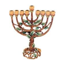 24K Gold Plated Tree of Life Hanukkah Menorah Yellow Roses and Emerald Gems