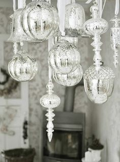 mercury glass ornaments, I love them would love to d a tree with these and a ton of white lights....