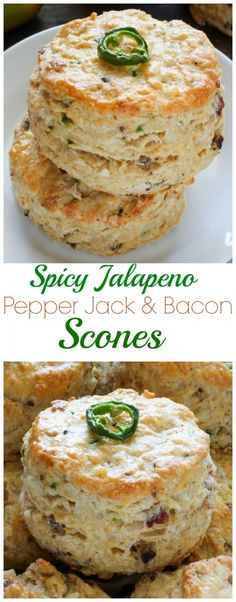 Bacon, Pepper Jack, and Jalapeno Scones - these are so moist, buttery, and flavorful! You could use biscuick and make drop biscuits. Would be easier when doing lots of them for brunch. Breakfast Desayunos, Breakfast Recipes, Scone Recipes, Bacon Scone Recipe, Homemade Breakfast, Biscuit Recipe, Think Food, Love Food, Savory Scones