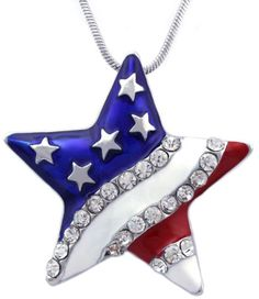 4th-of-July-Red-Blue-White-American-USA-Flag-Star-Pendant-Necklace-Stars-Stripes