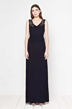 macrama-rama detail maxi dress