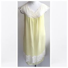 🌞🍄Buttercup Yellow Lace Vintage Nighty🌞🍄 I love this piece! Vintage nightgown, soft yellow Nylon fabric with lace trim at the top and bottom hem. Sweet vintage piece, excellent condition with no major wear. Size Large, I'd estimate it to be a good fit for a Medium (up to a size 10 in modern sizing). 🌞🍄All Summer Clearance items are FINAL PRICE! Please no offers.🌞🍄 Vintage Intimates & Sleepwear Chemises & Slips