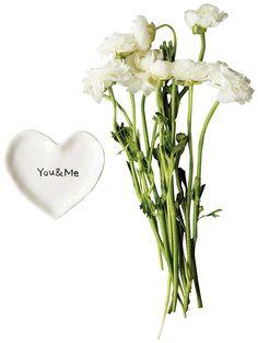 """$5.95 - Ceramic Heart Shape - """"You & Me"""" Dish - White"""