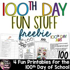 100th Day Fun Stuff Freebie  If you haven't yet celebrated the 100th Day of School like me hop on over to my blog and check out my 100th Day Fun Stuff Freebie. It includes a 100 Second Challenge two Spelling Activities and Hundreds Day Art Activity templates.  Happy Hundreds Day    100 Day activities 100th day of school 2nd grade 3 - 5 3-5 3rd grade 4th grade Hundreds Day I Want to be a Super Teacher