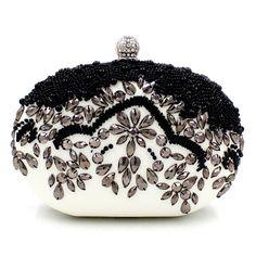 Women messenger bags brand fashion new 2016 European high-grade Black Beaded Evening Bag Handmade pearl diamond lady evening bag #shoes