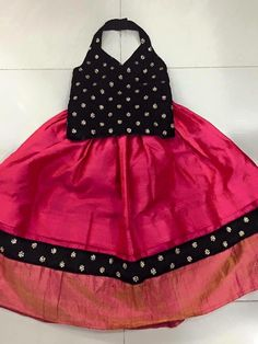 Trendy Black Top and Dark Pink Lahenga For Baby Girls