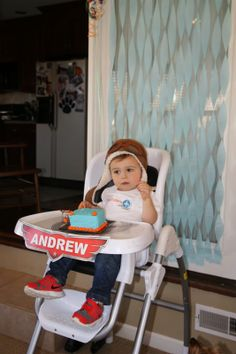 2nd Birthday, Disney Planes, aviator hat, Etsy printable, highchair decoration