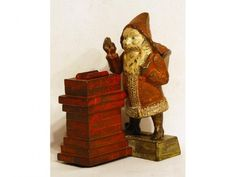 Vintage Christmas Collectible ~ Shepard Cast Iron Santa Claus Mechanical Bank. Circa, 1889.