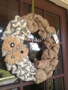 burlap & chevron bubble wreath with burlap flowers