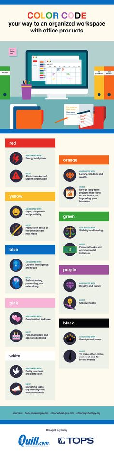 Color code your way to an organized workspace with office products #infographic #Colors #Productivity #Office #Workplace