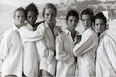 Estelle Lefebure, Karen Alexander, Rachel Williams, Linda Evangelista, Tatjana Patitz & Christy Turlington