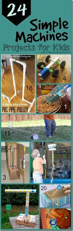 24 Simple Machines projects for kids - so many clever, fun, and unique science experiments to explore simple machines!