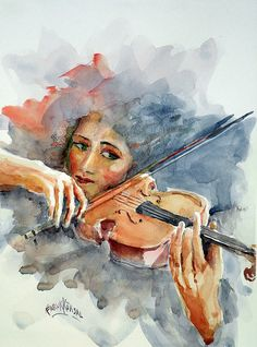Violin Painting - Sound Of Violin. by Faruk Koksal Violin Painting, Violin Art, Painting & Drawing, Cello, Watercolor Artists, Watercolor Techniques, Watercolor Paintings, Artist Life, Art Auction
