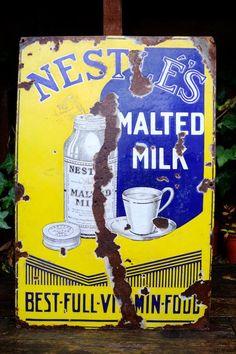 Items similar to Rare Nestle's Malted Milk Antique Enamel Advertising Sign on Etsy Advertising Signs, Vintage Advertisements, Ads, Malted Milk, Vintage India, Garage Signs, Vintage Metal Signs, Old Signs, Street Signs