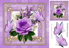 pretty shades of purple roses with butterflies on lace 8x8 on Craftsuprint - View Now!