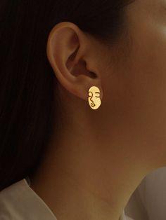 Ohrringe Banana Piercing Look mit Strass Gold 4cm
