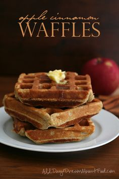 Awesome low carb, grain-free waffles with a hint of apples and cinnamon. The perfect fall brunch food!