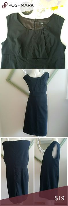 "Plus Size Little Black Dress Gently worn. Black sheath dress. Lined. Zipper in back.  Angeled Pleating at bust of dress. Slit in back. Design to hit below knee but will depend on your ht. No holes, stains, or rips.   Measurements  Length 37.5"" Slit length 5.5""  Sleeve width 4""  Bust 44.5""  Waist 38.5""  Hip 46.5  Make an offer. Always willing to negotiate. Mossimo Supply Co Dresses"