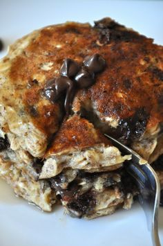 Chocolate chip oatmeal pancakes--no butter or sugar. I ALSO SUB. APPLESAUCE FOR OIL, PEANUT BUTTER FOR ALMOND BUTTER.