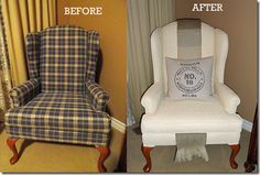 TONS of before and afters on how to paint fabric.