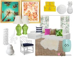 """""""Palm Beach Chic Living Room"""" by lysserrrr on Polyvore"""