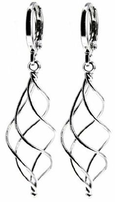 """Twisting Spiral Dangle Drop Earrings, 1.85"""" Inch Length, 14k White Gold Filled (Yellow Gold Filled Available) Ziva, LLC, http://www.amazon.com/dp/B00ADSBK9O/ref=cm_sw_r_pi_dp_nDworb18P2HEH"""