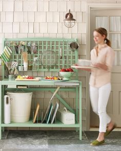 I need this more than a potting bench! A potting bench repurposed into an outdoor cooking prep space. Thank you, Martha! Outdoor Projects, Home Projects, Outdoor Ideas, Backyard Ideas, Patio Ideas, Garden Ideas, Garden Fun, Outdoor Decor, Backyard Projects