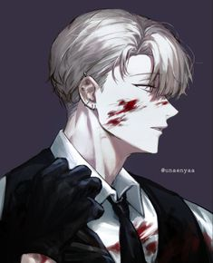 Manga Anime, Manga Boy, Anime Art, Yandere Boy, Yandere Manga, Dark Anime Guys, Anime Weapons, Sad Art, Handsome Anime Guys