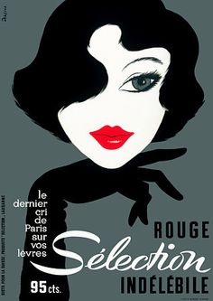 The latest from Paris on your lips 1950s http://www.vintagevenus.com.au/products/vintage_poster_print-fas153