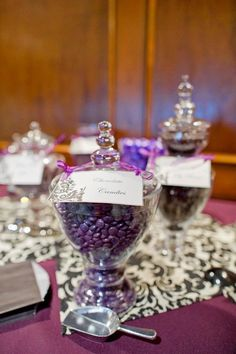 Purple candy buffet, reception decor, damask, DIY made signs, apothecary jars, rental from Special Occasions Rental and Design, Photo by Elisha Orin Photography