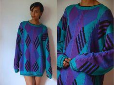Vtg Oversize Diamond Pattern Purple Teal Knit by LuluTresors, $29.99