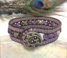 Amethyst Beaded Leather Wrap Bracelet 3 Row Cuff by SunsetSouthPaw
