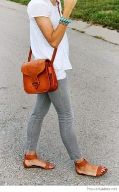 Grey jeans, white tee and brown accessories